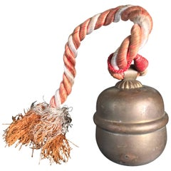 Japanese Old Hand Cast Shinto Suzu Temple Bell with Rope Handle
