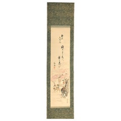 Japanese Old Hand Painted Scroll Two Lucky Old Friends with Horse