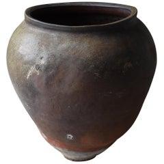 Japanese Old Huge Pottery 1700s-1800s/Antique Flower Vase Vessel Jar Tsubo Edo