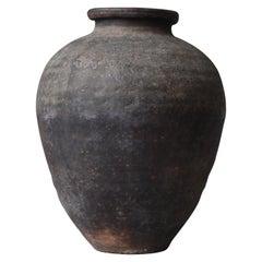 Japanese Old Huge Pottery 1800s-1860s/Antique Flower Vase Vessel Jar Wabisabi