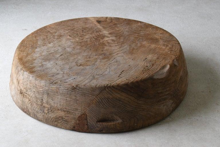 Japanese Old Huge Wooden Bowl 1860s-1900s/Antique Object Wabisabi Art 7