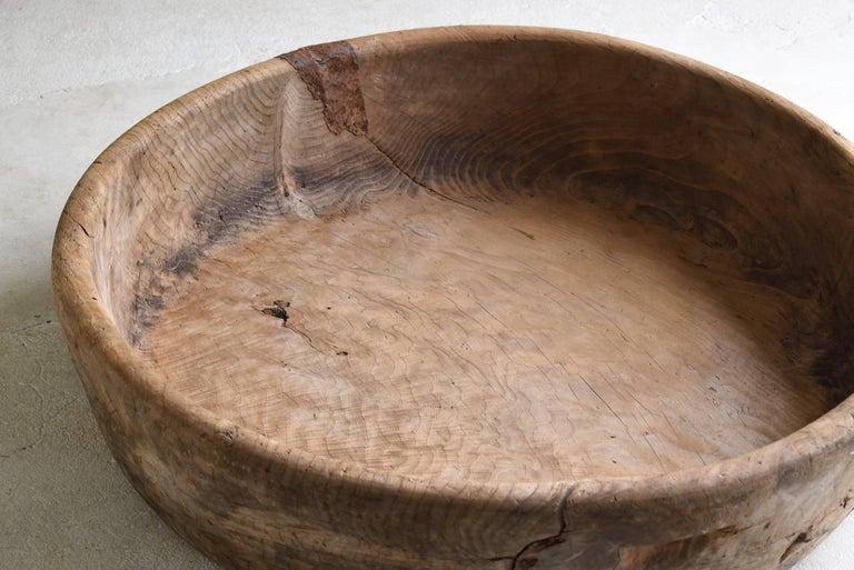 Meiji Japanese Old Huge Wooden Bowl 1860s-1900s/Antique Object Wabisabi Art