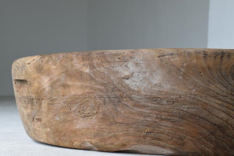 Japanese Old Huge Wooden Bowl 1860s-1900s/Antique Object Wabisabi Art 1