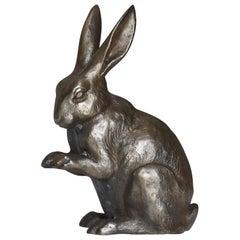 Japanese Old Iron Rabbit 1940s-1970s/Vintage Object Figurine Contemporary Art