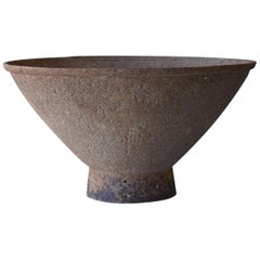 Japanese Old Large Iron Bowl 1860s-1900s/Antique Steel Plate Flower Vase Tsubo