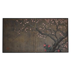 Japanese Old Painting Unknown Artist Folding Screen 1900s-1940s / Wabisabi Art
