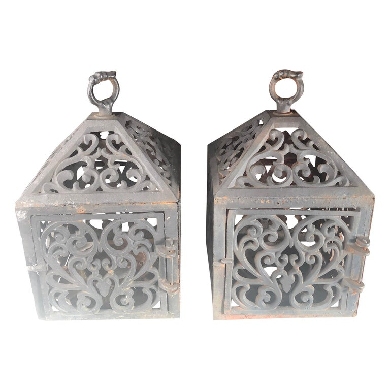 """Japanese Old Pair """"Town House"""" Architectural Garden Lanterns For Sale"""