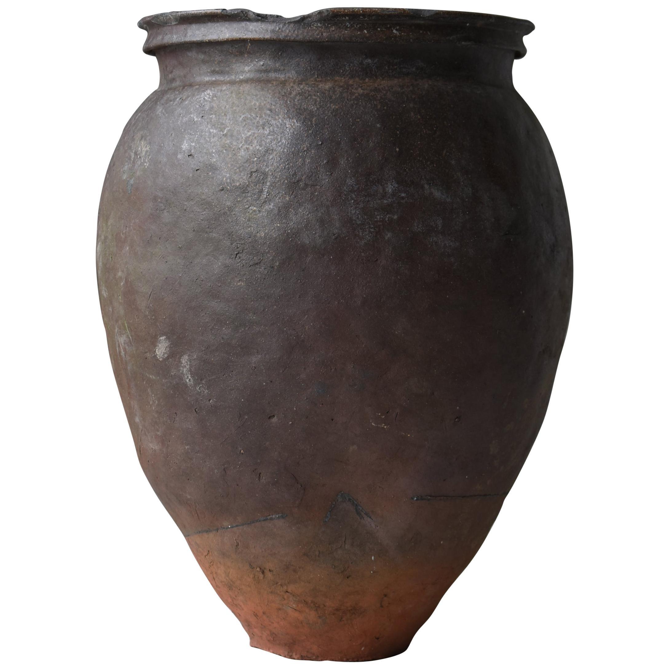 Japanese Old Pottery 1700s-1800s/Antique Flower Vase Vessel Jar Tsubo Ceramic