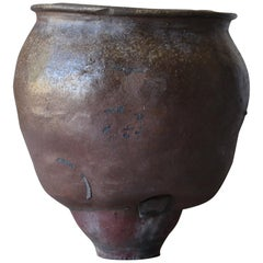 Japanese Old Pottery 1700s-1800s/Antique Flower Vase Vessel Jar Tsubo Wabisabi