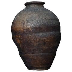 Japanese Old Pottery 1800s-1860s/Antique Flower Vase Vessel Jar Wabisabi Art