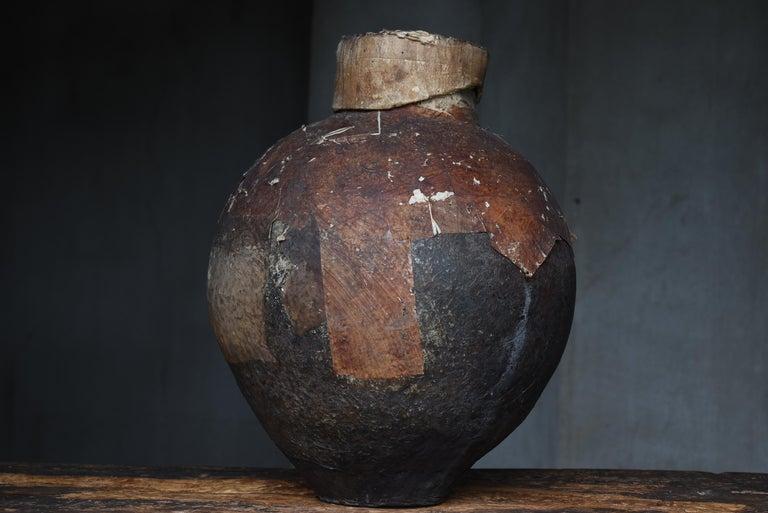 Japanese Old Pottery 1800s-1860s/Antique Vessel Flower Vase Wabisabi Tsubo Jar 5
