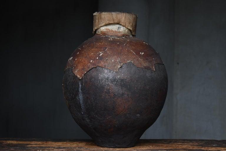Japanese Old Pottery 1800s-1860s/Antique Vessel Flower Vase Wabisabi Tsubo Jar 6
