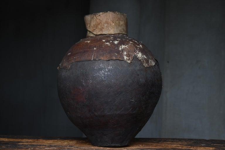 Japanese Old Pottery 1800s-1860s/Antique Vessel Flower Vase Wabisabi Tsubo Jar 7