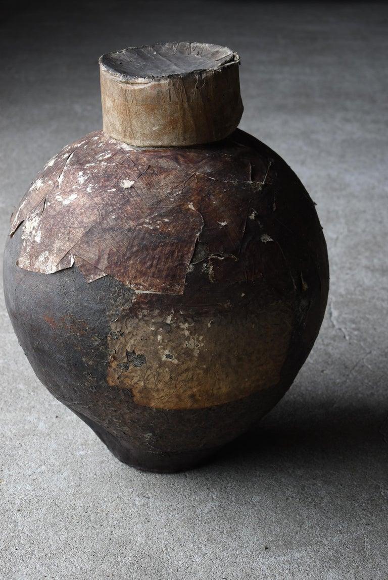 Japanese Old Pottery 1800s-1860s/Antique Vessel Flower Vase Wabisabi Tsubo Jar 10