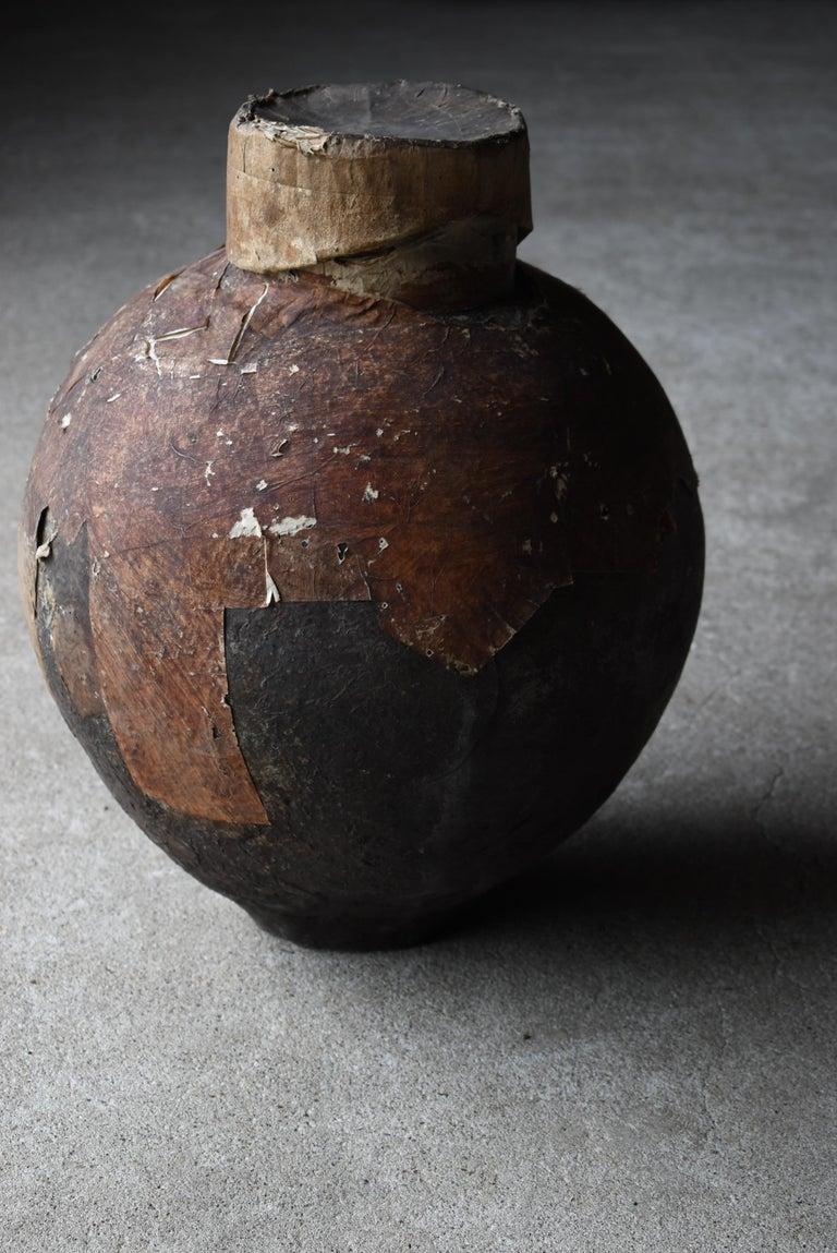 Japanese Old Pottery 1800s-1860s/Antique Vessel Flower Vase Wabisabi Tsubo Jar 11