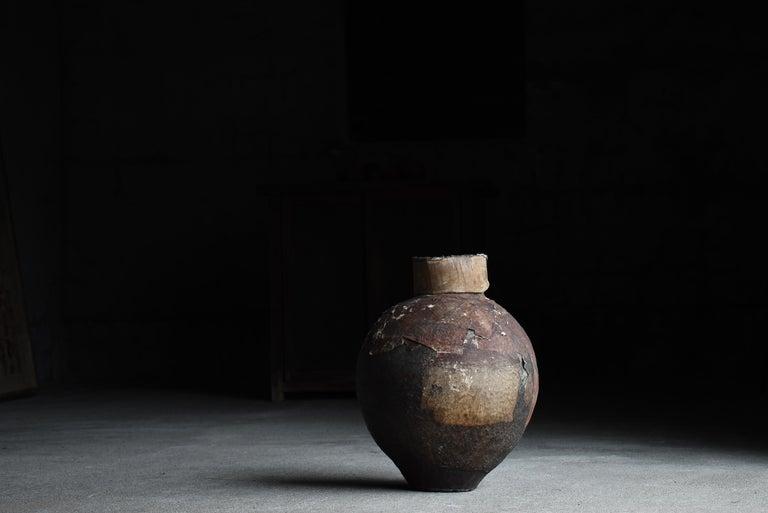 Japanese Old Pottery 1800s-1860s/Antique Vessel Flower Vase Wabisabi Tsubo Jar 13
