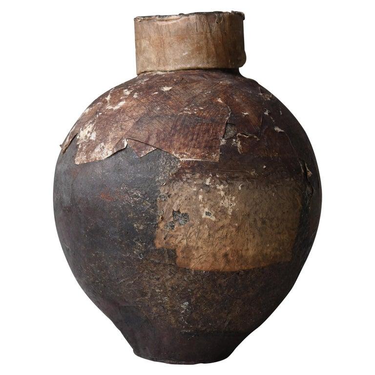 Japanese Old Pottery 1800s-1860s/Antique Vessel Flower Vase Wabisabi Tsubo Jar