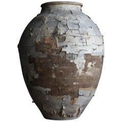 Japanese Old Pottery 1800s-1900s/Antique Flower Vase Vessel Jar Wabisabi Art