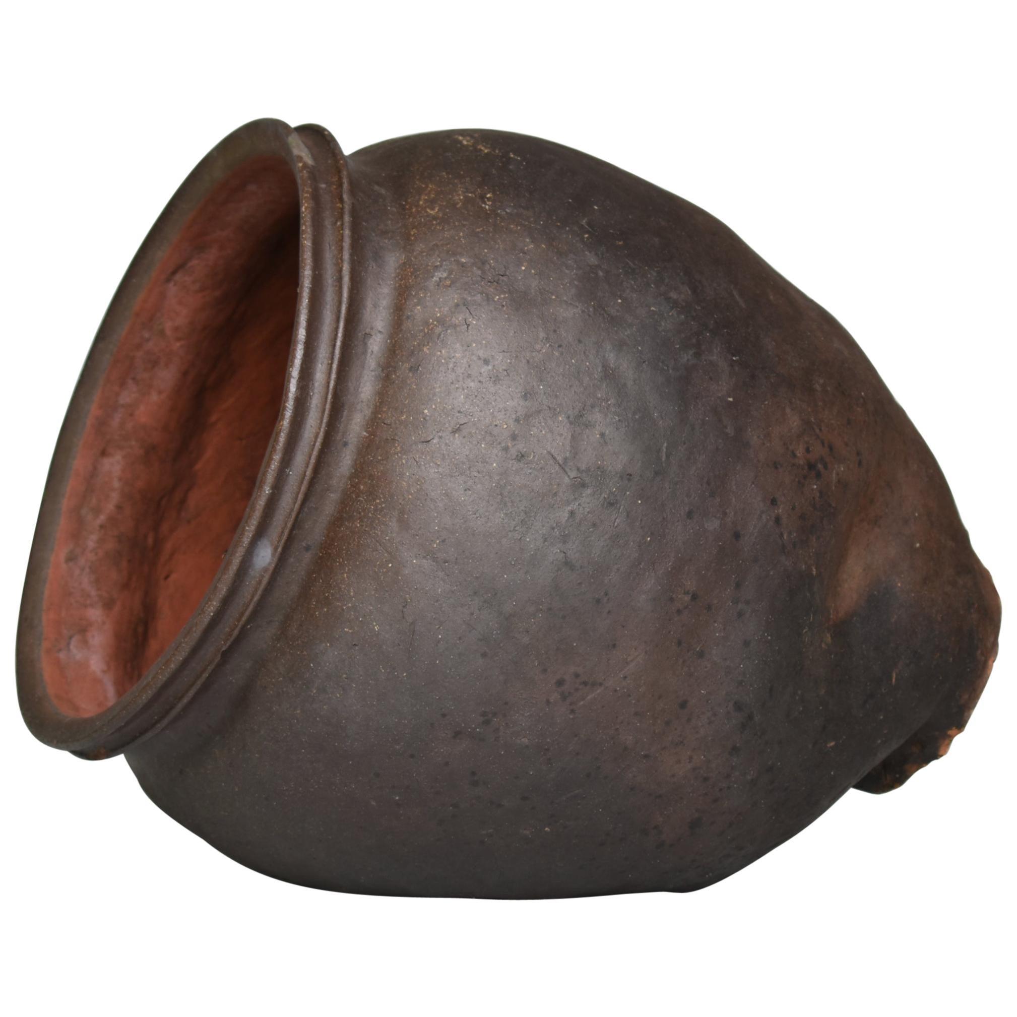 Japanese Old Pottery Tokoname 1700s-1800s/Antique Flower Vase Vessel Jar Ceramic