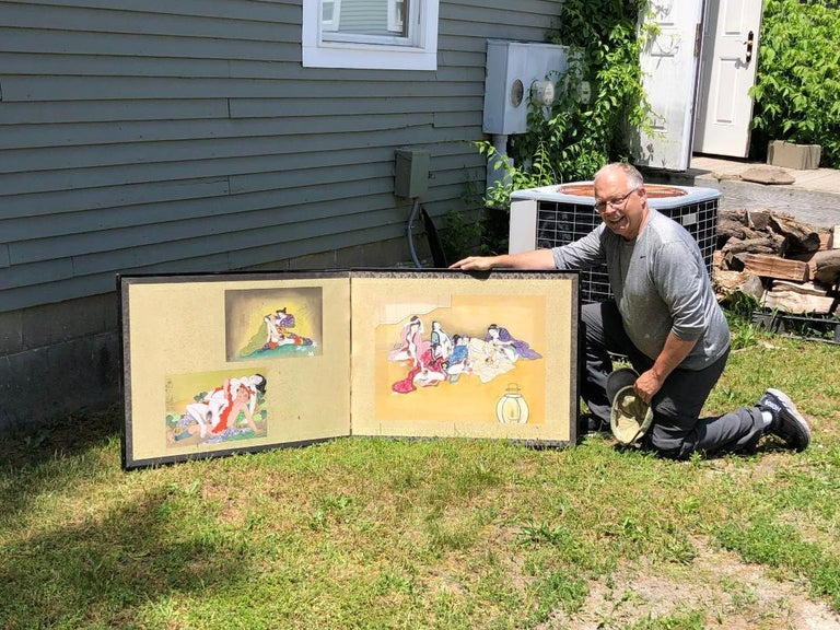 From our most recent Japanese Acquisitions.  Here's an unusual and rare find.  This two panel screen features three old Japanese shunga scene paintings. It is the first such screen we have had the pleasure of finding and collecting.  The scenes