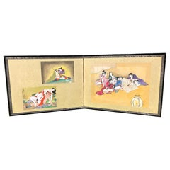 "Japanese Old ""Shunga"" Two-Panel Hand Painted Screen, a First"