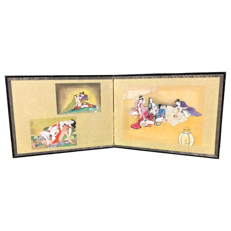 """Japanese Old """"Shunga"""" Two-Panel Hand Painted Screen, a First For Sale"""