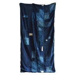 Japanese Old Spliced Indigo Dyed Cloth / Wabisabi Art / Tapestry/Wall Decoration