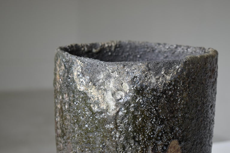 Showa Japanese Old Stone Pot 1920s-1950s/Pottery Jar Vessel Tsubo Wabisabi-Art Ceramic For Sale