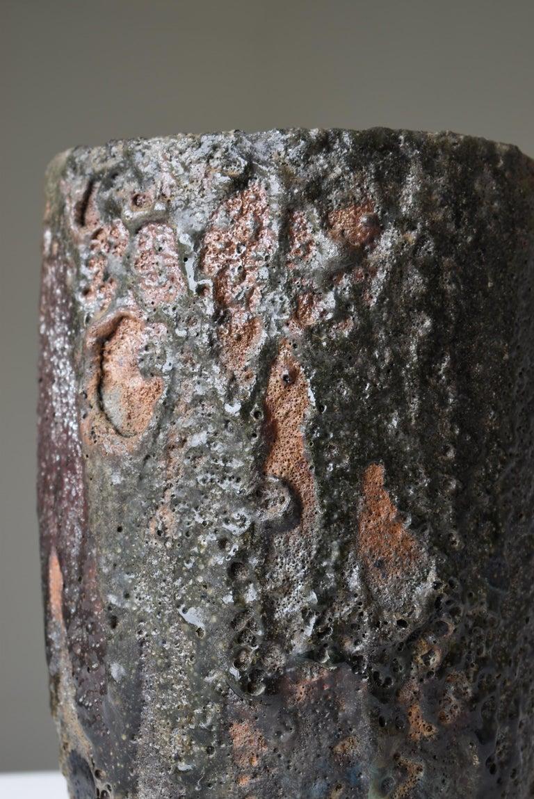 Japanese Old Stone Pot 1920s-1950s/Pottery Jar Vessel Tsubo Wabisabi-Art Ceramic For Sale 2