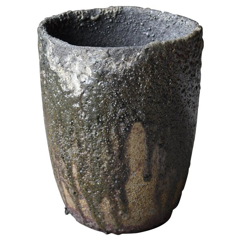 Japanese Old Stone Pot 1920s-1950s/Pottery Jar Vessel Tsubo Wabisabi-Art Ceramic For Sale