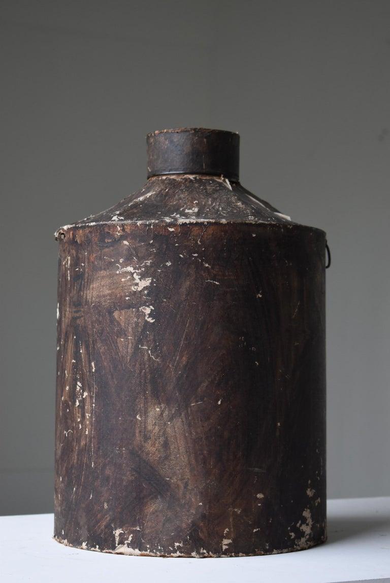 20th Century Japanese Old Tin Bottle 1900s-1940s/Antique Flower Vase Vessel Wabisabi Art For Sale