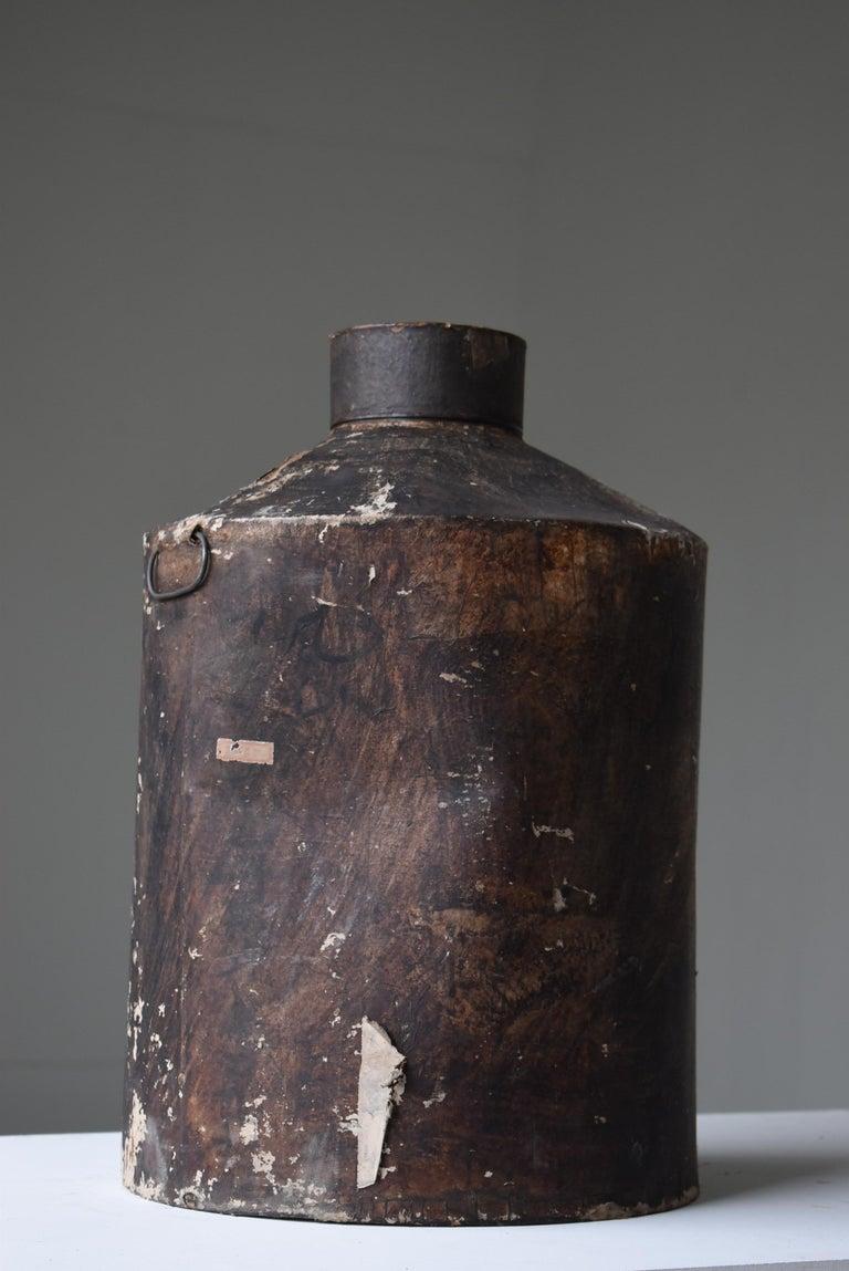 Japanese Old Tin Bottle 1900s-1940s/Antique Flower Vase Vessel Wabisabi Art For Sale 1