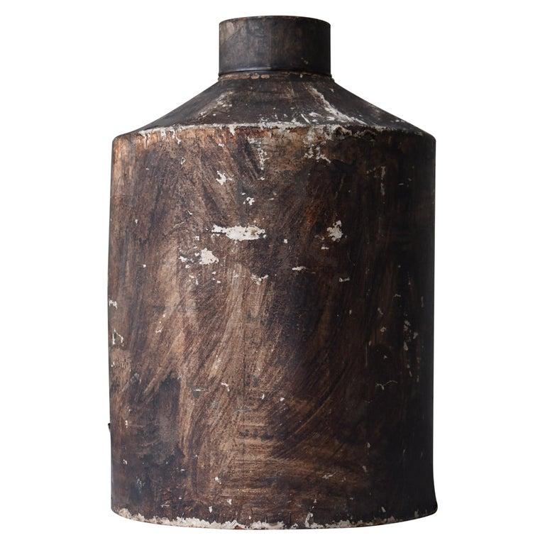 Japanese Old Tin Bottle 1900s-1940s/Antique Flower Vase Vessel Wabisabi Art For Sale