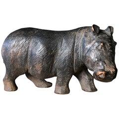 Japanese Old & Unusual Hippopotamus Hand Carved Wooden Gem, Ainu People
