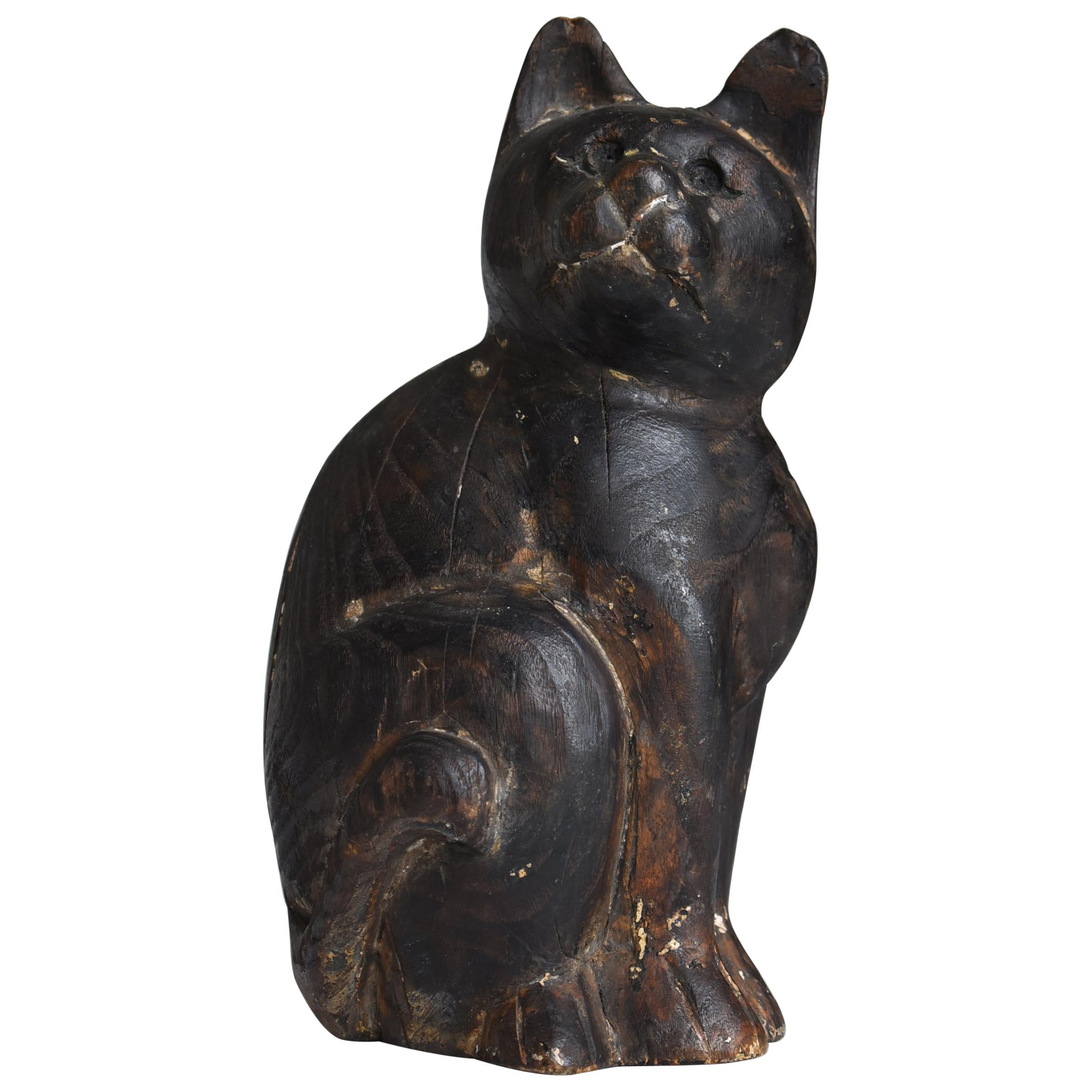 Japanese Old Wood Carving Cat 1860s-1920s / Antique Figurine Animal Sculpture