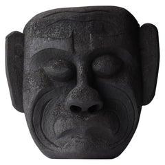 Japanese Old Wood Carving Mask 1800s-1860s/Folk Art Sculpture Wabisabi Object
