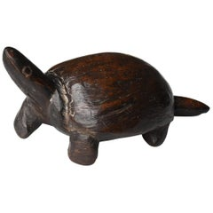 Japanese Old Wood Carving Turtle 1900s-1920s/Antique Figurine Sculpture Fork Art