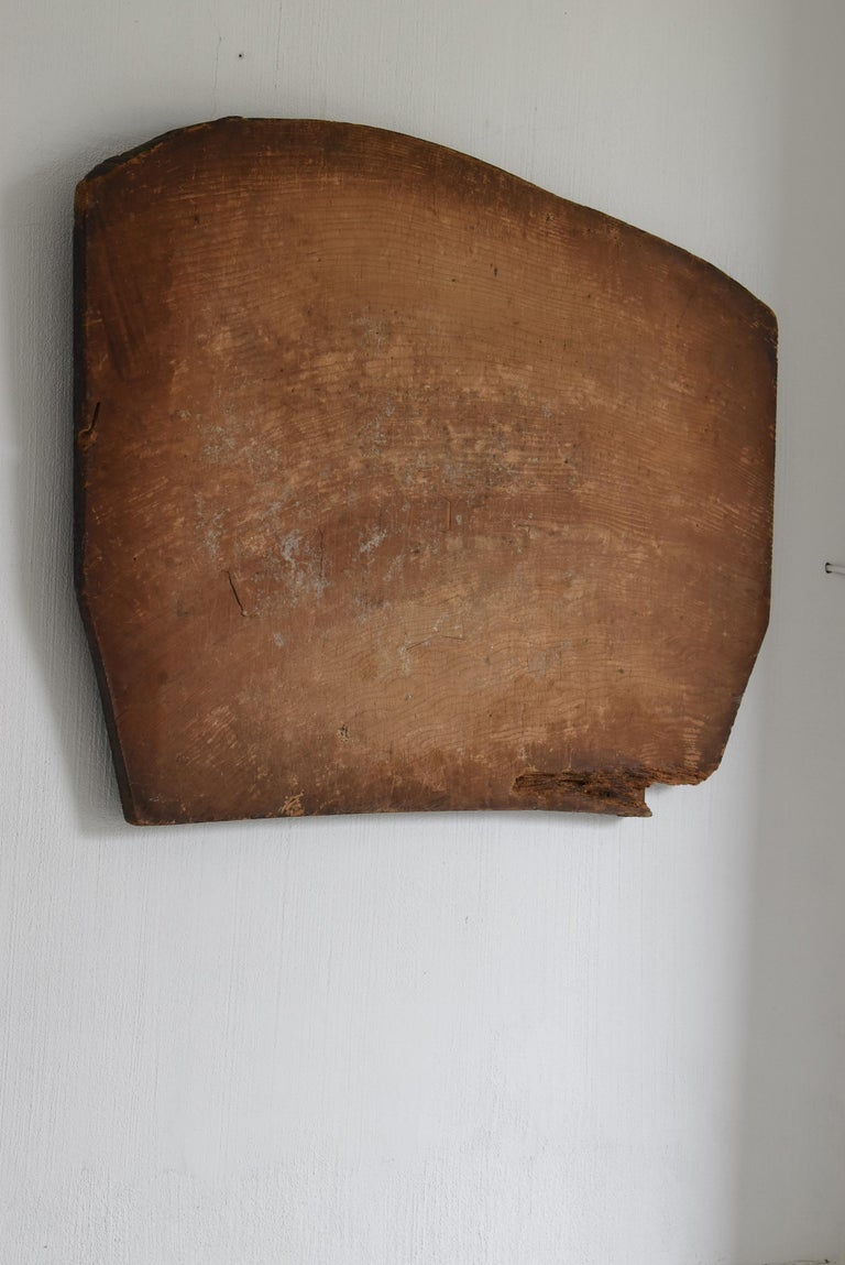 Meiji Japanese Old Wooden Board 1860s-1920s/Antique Abstract Art Wabisabi Contemporary For Sale