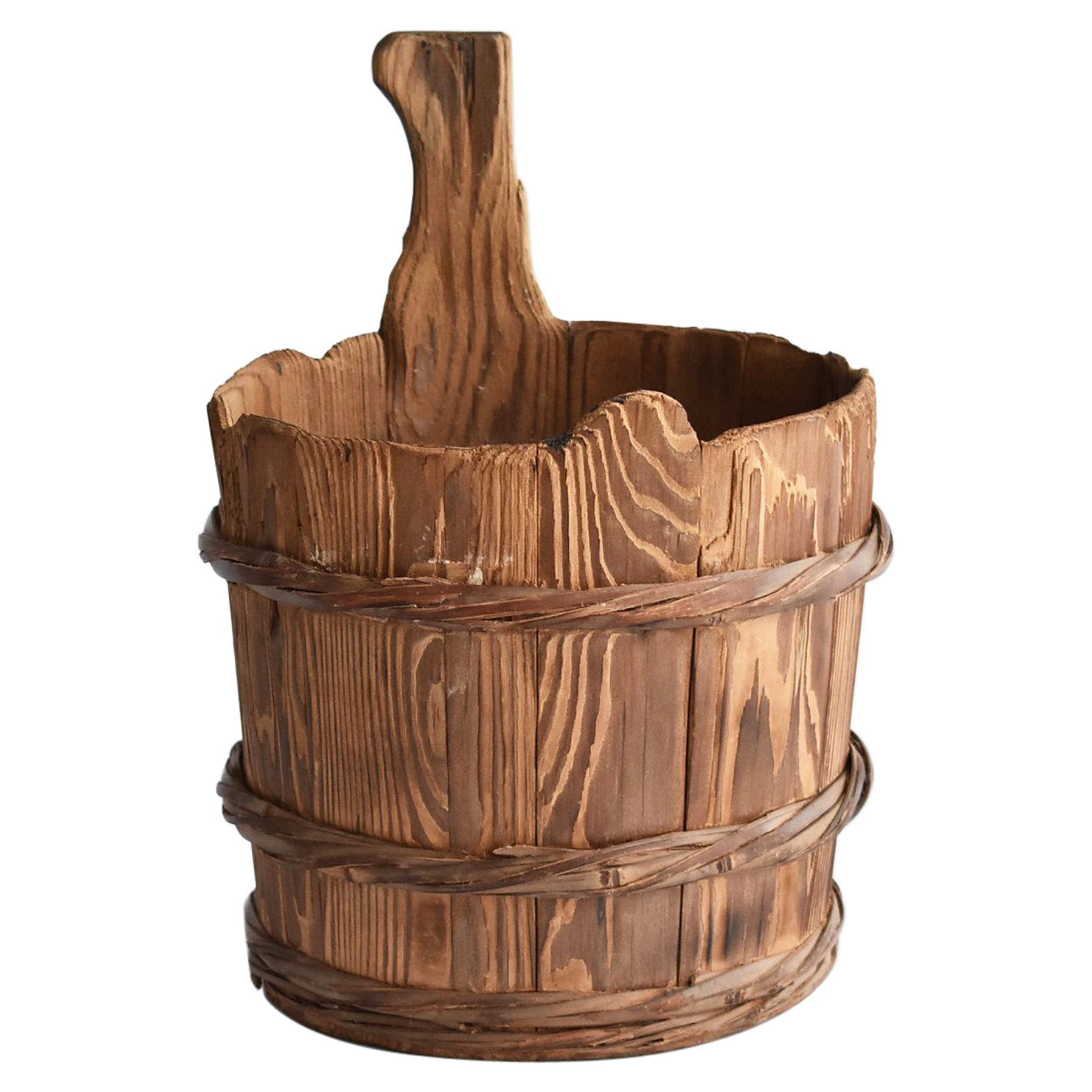 Japanese Old Wooden Bucket /Antique Vase /Wabi-Sabi Old Folk Implement