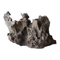 Japanese Old Wooden Object/Tree Stump Figurine Natural Wood Wabisabi Art Antique