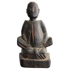 Japanese Old Wooden Statues of God / God of Learning / Wooden Dolls/Edo-Meiji