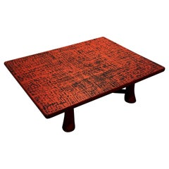 Japanese Orange Red Negoro Lacquer Low Table, Taisho Period, 1920s, Japan
