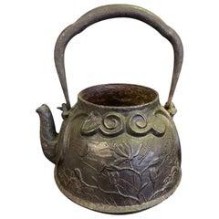 Japanese Ornate Floral Cast Iron Tea Kettle Water Pot Tetsubin Late 19th Century