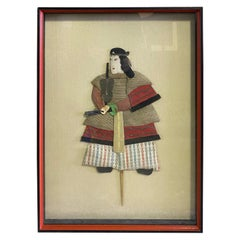 Japanese Oshie Pressed Textile Samurai Framed Shadow Puppet Doll