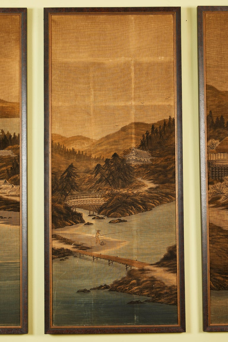Hand-Painted Japanese Painted and Voided Velvet Textile Panels For Sale