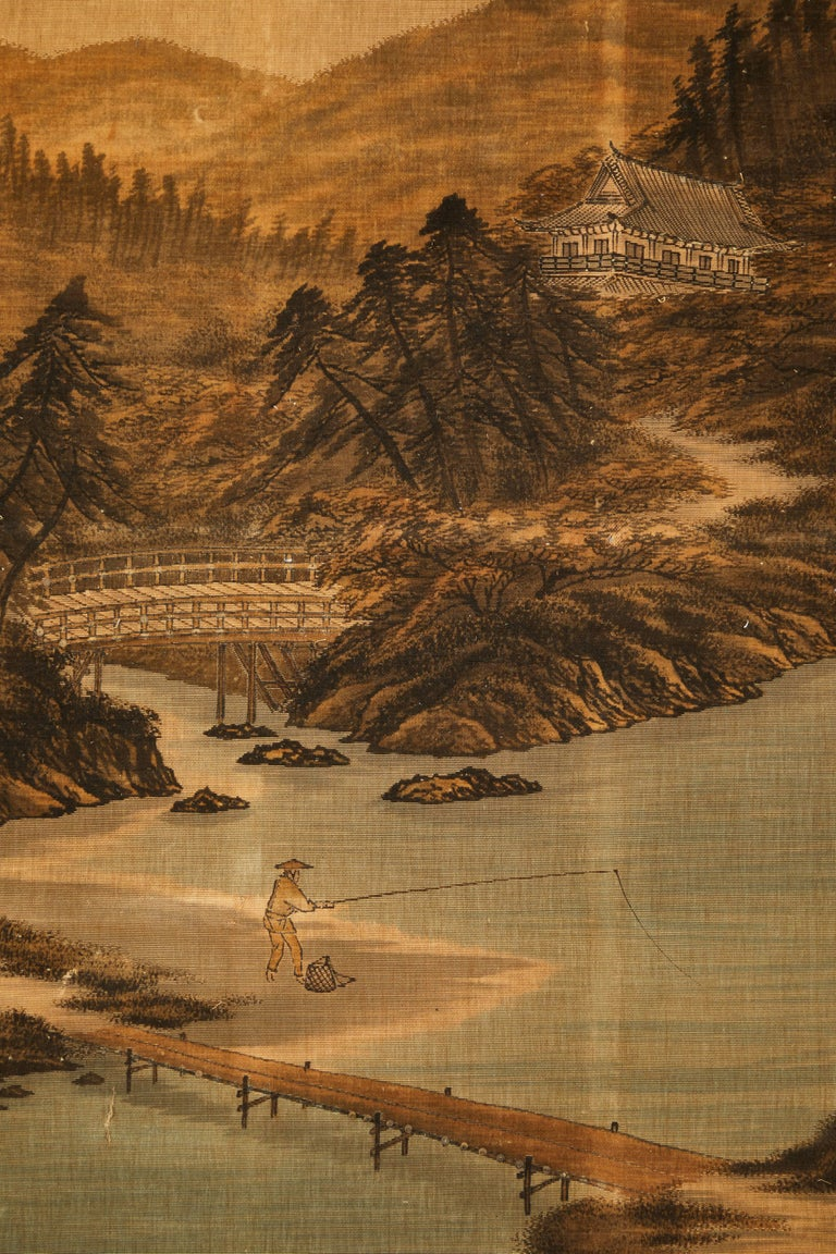Silk Japanese Painted and Voided Velvet Textile Panels For Sale