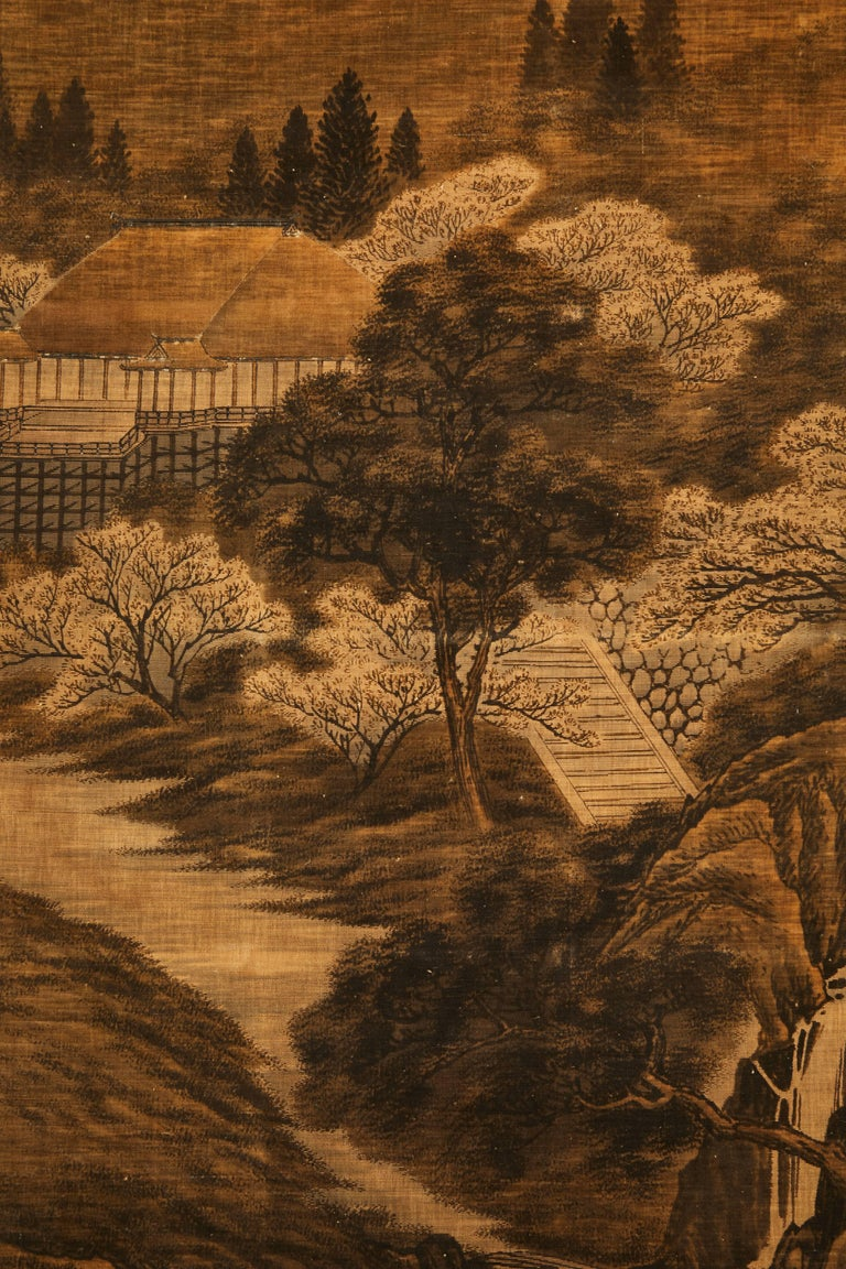 Japanese Painted and Voided Velvet Textile Panels For Sale 1