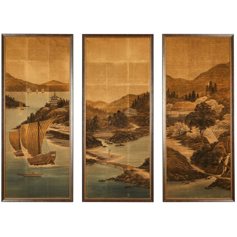 Japanese Painted and Voided Velvet Textile Panels For Sale