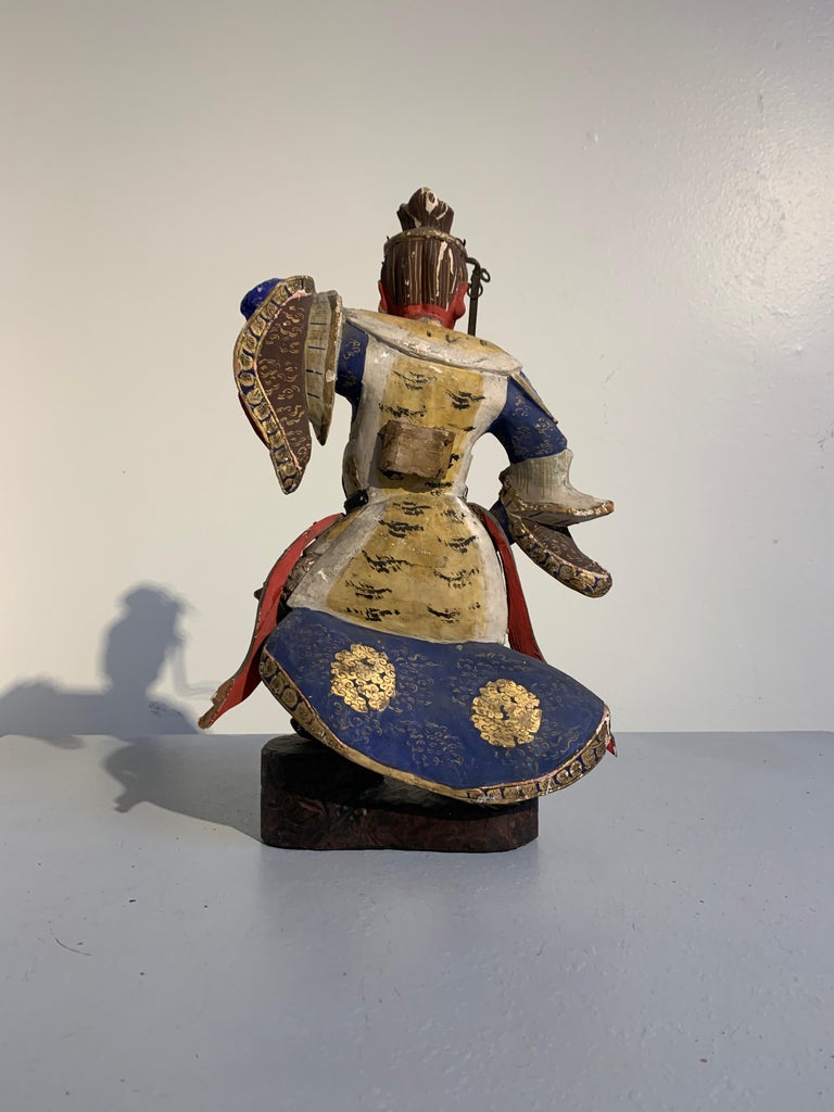 Hand-Carved Japanese Painted Wood Figure of a Guardian King, Edo Period, 18th Century For Sale