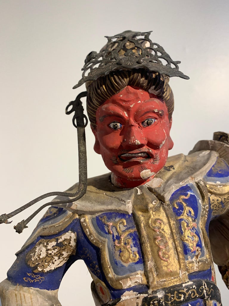 Cypress Japanese Painted Wood Figure of a Guardian King, Edo Period, 18th Century For Sale